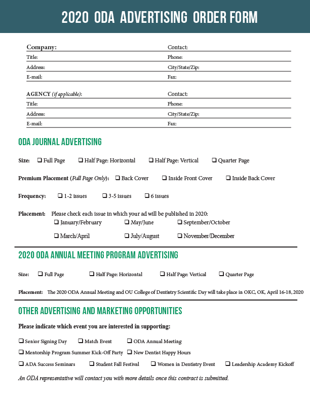2020 ODA Advertising Order Form and Contract